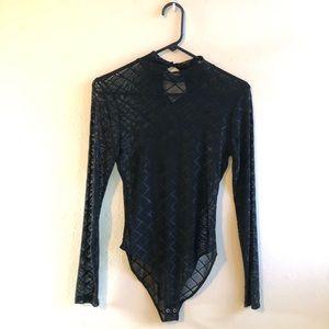 FOREVER 21 - black mesh bodysuit - size medium